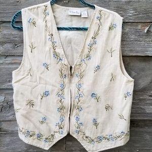 Floral Embroidered Vintage 80s 90s Vest